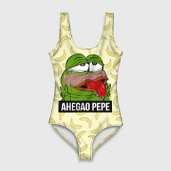 Купальник-боди 3D женский Ahegao Pepe цвета 3D — фото 1