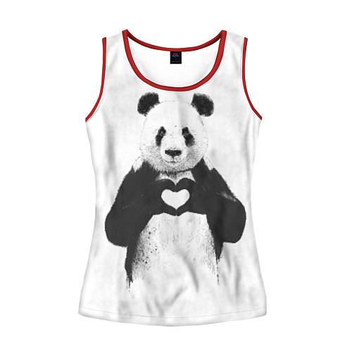 Женская майка без рукавов Panda Love / 3D-Красный – фото 1