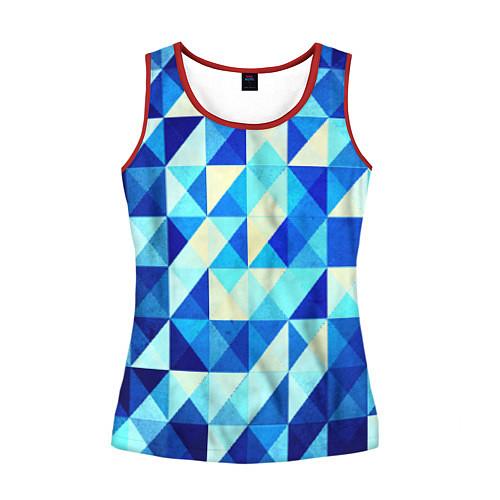 Женская майка без рукавов Синяя геометрия / 3D-Красный – фото 1