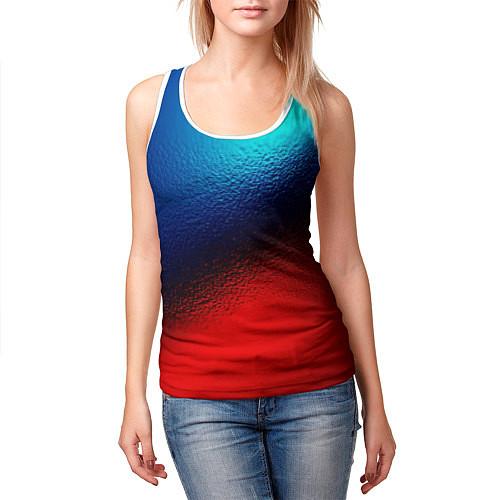 Женская майка без рукавов Синий и красный / 3D-Белый – фото 3
