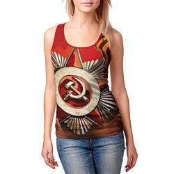 Майка-безрукавка женская 9 мая цвета 3D-красный — фото 2