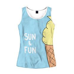 Майка-безрукавка женская Sun & Fun цвета 3D-белый — фото 1