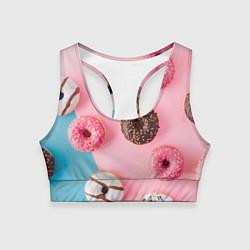 Топик спортивный женский Сладкие пончики цвета 3D — фото 1
