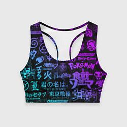 Топик спортивный женский ЛОГОТИПЫ АНИМЕ НЕОН цвета 3D-принт — фото 1