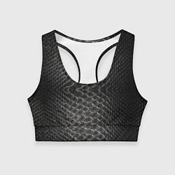 Топик спортивный женский Черная кожа цвета 3D — фото 1