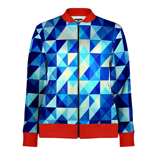 Женская олимпийка Синяя геометрия / 3D-Красный – фото 1