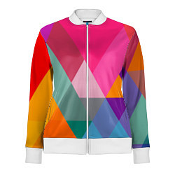 Олимпийка женская Разноцветные полигоны цвета 3D-белый — фото 1