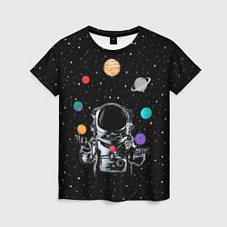 Женская 3D-футболка с принтом Космический жонглер, цвет: 3D, артикул: 10117670003229 — фото 1