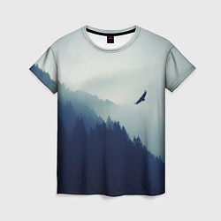 Футболка женская Орел над Лесом цвета 3D-принт — фото 1