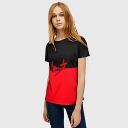 Футболка женская АлисА: Черный & Красный цвета 3D — фото 2
