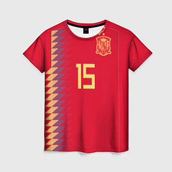 Футболка женская Сборная Испании: Рамос ЧМ 2018 цвета 3D-принт — фото 1