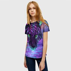Футболка женская Неоновый тигр цвета 3D — фото 2