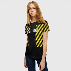 Футболка женская Off-White: Yellow Grunge цвета 3D — фото 2