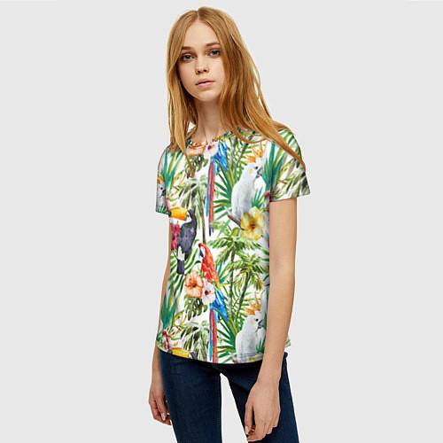 Женская футболка Попугаи в тропиках / 3D – фото 3