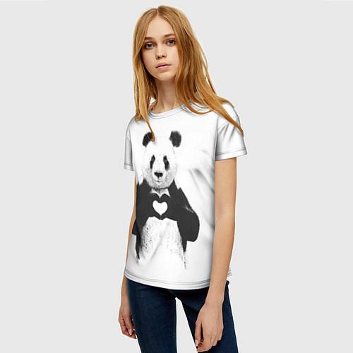 Женская футболка Panda Love / 3D – фото 3