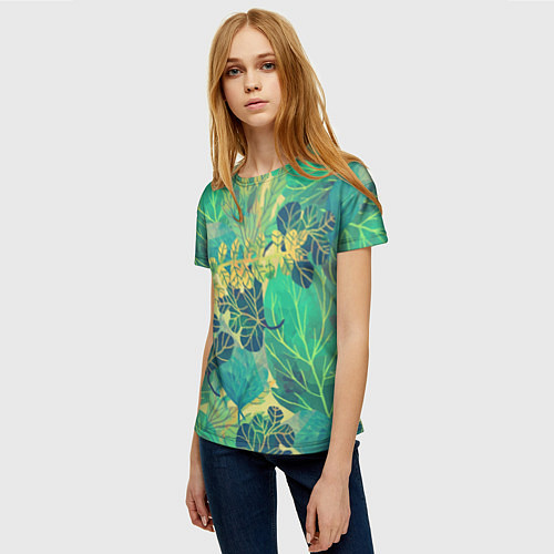 Женская футболка Узор из листьев / 3D – фото 3