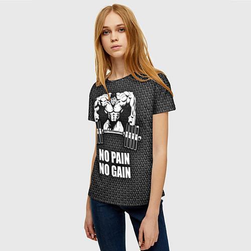 Женская футболка No pain, no gain / 3D – фото 3