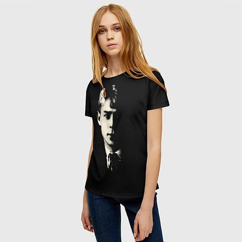 Женская футболка Есенин Ч/Б / 3D – фото 3