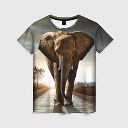 Футболка женская Дикий слон цвета 3D — фото 1
