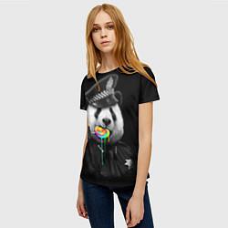 Футболка женская Панда с карамелью цвета 3D-принт — фото 2