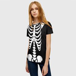 Футболка женская Скелет цвета 3D-принт — фото 2