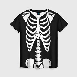 Футболка женская Скелет цвета 3D — фото 1