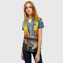 Женская 3D-футболка с принтом Экзотические попугаи, цвет: 3D, артикул: 10095845903229 — фото 2