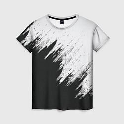 Футболка женская Черно-белый разрыв цвета 3D-принт — фото 1