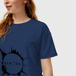 Футболка оверсайз женская Heroes spot цвета тёмно-синий — фото 2