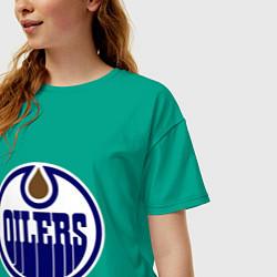 Футболка оверсайз женская Edmonton Oilers цвета зеленый — фото 2