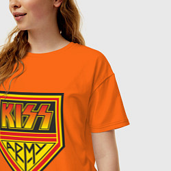 Футболка оверсайз женская Kiss Army цвета оранжевый — фото 2