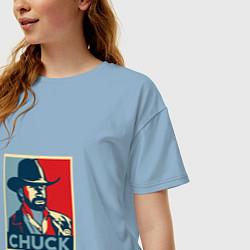 Футболка оверсайз женская Chuck Poster цвета мягкое небо — фото 2