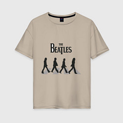 Футболка оверсайз женская The Beatles: Abbey Road цвета миндальный — фото 1