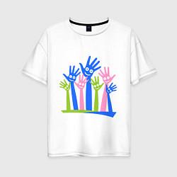 Футболка оверсайз женская Hands Up цвета белый — фото 1
