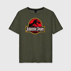 Футболка оверсайз женская Jurassic Park цвета меланж-хаки — фото 1