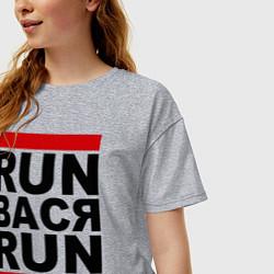 Футболка оверсайз женская Run Вася Run цвета меланж — фото 2