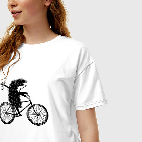 Женская футболка оверсайз Ежик на велосипеде / Белый – фото 3