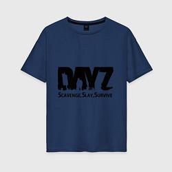 Футболка оверсайз женская DayZ: Slay Survive цвета тёмно-синий — фото 1