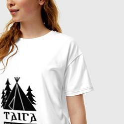 Футболка оверсайз женская Taiga: This is my home цвета белый — фото 2