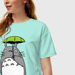 Футболка оверсайз женская Totoro с зонтом цвета мятный — фото 2