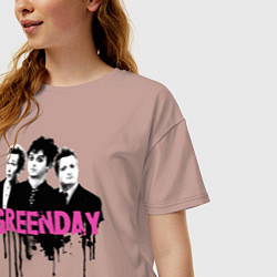 Футболка оверсайз женская The Green Day цвета пыльно-розовый — фото 2