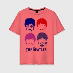 Футболка оверсайз женская The Beatles faces цвета коралловый — фото 1