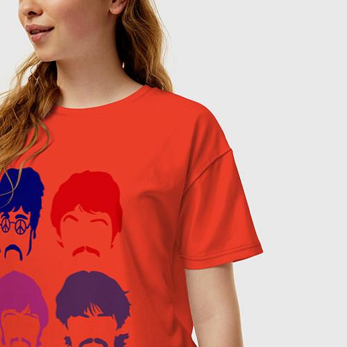 Женская футболка оверсайз The Beatles faces / Рябиновый – фото 3