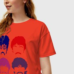 Футболка оверсайз женская The Beatles faces цвета рябиновый — фото 2