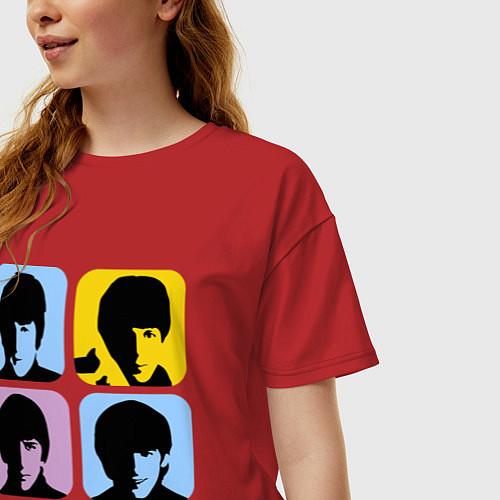 Женская футболка оверсайз The Beatles: pop-art / Красный – фото 3