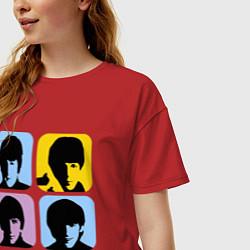 Футболка оверсайз женская The Beatles: pop-art цвета красный — фото 2