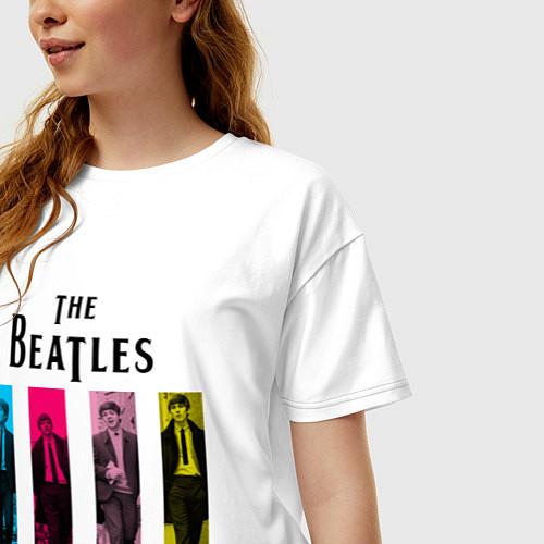 Женская футболка оверсайз Walking Beatles / Белый – фото 3