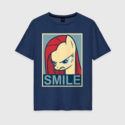 Футболка оверсайз женская MLP: Smile цвета тёмно-синий — фото 1