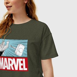 Футболка оверсайз женская Thor: Marvel цвета меланж-хаки — фото 2