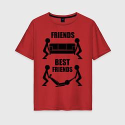 Футболка оверсайз женская Best friends цвета красный — фото 1